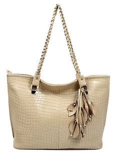 Lady Beige Chain Stone Pattern Real Leather Handbags