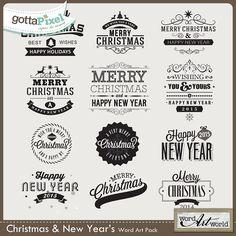 Christmas and New Year's Digital Scrapbook Word Art at Gotta Pixel.