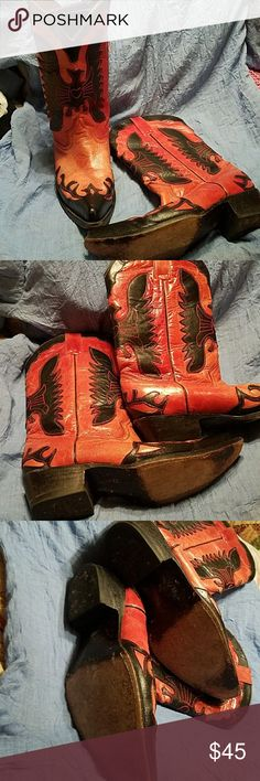 Pecos Bill Cowboy Boots Red/black cowboy boots in good used condition. pecos bill Shoes Heeled Boots