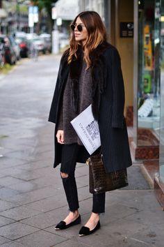 Maja Wyh Black Skinny Jeans and Coat | Copenhagen Street Style