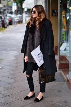 coat: naf naf + sweater: yaya + denim: vans + bag: vintage .