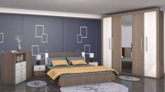 Dormitor matrimonial complet, disponibil in 2 variante de nuante, compus din dulap in 5 usi,pat matrimonial cu tetiera, comoda si doua noptiere. Bed, Modern, Furniture, Design, Home Decor, Houses, Trendy Tree, Decoration Home, Stream Bed