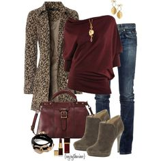burgundy & leopard by enjoytheview on Polyvore