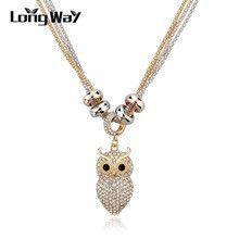 Free Shipping Gold Silver Pendant Necklace Fashion Cute Full Crystal Owl Pendant Long Chain Necklace For Women SNE140447