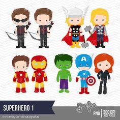 SUPERHERO 1  Digital Clipart , Avengers Digital Clipart  / Instant Download via Etsy