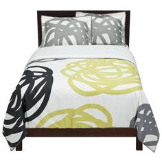 we kind of like this comforter to go with the gray, but i really would love to find a yellow and white damask  set