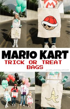 Mario Kart Treat Bags Easy Halloween Crafts, Easy Halloween Costumes, Halloween Trick Or Treat, Diy Halloween Decorations, Halloween Themes, Mario Kart Costumes, Trick Or Treat Bags, Different Holidays, Love Craft