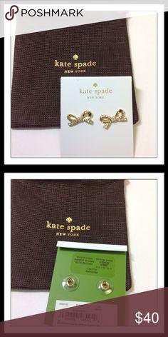 "Kate a Spade ♠️ Gold Pavé Skinny Mini Bow Studs Skinny Mini Pavé Bow Stud earrings by Kate Spade. Gold color, enamel coated metal with gold plated metal. 14-karat gold filled posts 0.4"" high x 1"" wide  Includes original dust bag.   Trades  Holds kate spade Jewelry Earrings"