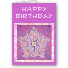 Birthday Card - Purple Star Fractal Pattern $3.35