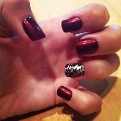Maroon and Cheetah Nails!