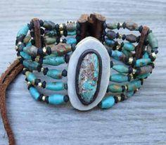 Turquoise Leather Bracelets, deer antler choker style bracelet at…