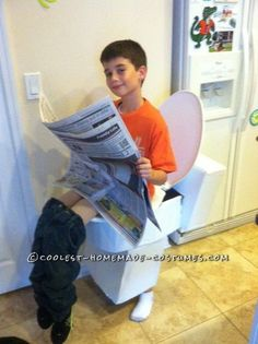 Coolest Illusion Costume: A Boy on the Toilet!I think this may be the one costume that will FINALLY get my kids away from the store bought, cookie-cutter costumes. Has Steve written all over it Halloween Costumes Kids Boys, Cute Costumes, Halloween Party, Costume Ideas, Halloween Ideas, Halloween Stuff, Homemade Halloween, Halloween Projects, Halloween 2017