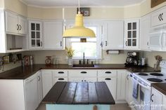 Before & After: A Kitchen Makeover with Stunning DIY Countertops — Kitchen Remodel Butcher Block Countertops Kitchen, Diy Wood Countertops, Kitchen Cabinets, White Cabinets, Dark Counters, Corner Cabinets, Country Kitchen Renovation, Kitchen Redo, Kitchen Ideas
