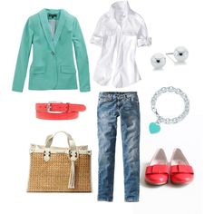 Too cute. Aqua and Coral, created by bluehydrangea on Polyvore