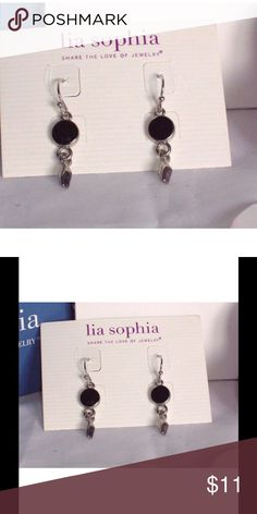"""NWT Lia Sophia """"Rodeo"""" dangle earrings NWT Lia Sophia """"Rodeo"""" Dangle Earrings. These earrings are silver toned with a black enamel round top and a silver bottom dangle. These are pierced earrings and hook style. Approximately 3/4 inches long. Super cute. Lia Sophia Jewelry Earrings"""