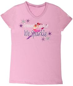 This new Sparkle Gymnastics T-shirt is just so. Your gymnast will love the soft feel of this orchid colored v-neck t-shirt. Gymnastics Clothes, Orchid Color, Mixing Prints, Cute Shirts, Sparkles, V Neck T Shirt, Glitter, T Shirts For Women, Summer