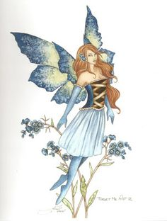 """Forget Me Not II, artwork by Amy Brown, a lovely open edition print you will certainly not forget. Features an elegant fairy dressed in blue soaring up into the air, with a look that will take you away to a magical land.  Dimensions: 8 1/2"""" W x 11"""" H  Materials: 80 lb cover stock Price: $12.95"""