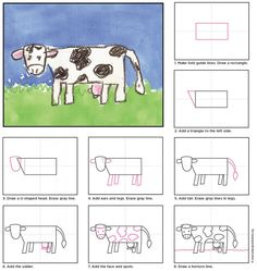 How to draw a Cow. Tutorial included. #artprojectsforkids