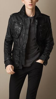 Burberry Brit Washed Leather Field Jacket
