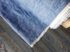 Washed denim linen fabric by the meter tissu au metre flax | Etsy Flax Fiber, Sacred Plant, Cool Fabric, Getting Wet, Striped Linen, Wet And Dry, Natural Linen, Shibori, Weaving