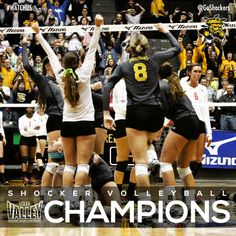 Shockers are 2013 Missouri Valley Conference Volleyball Champions! My True Love, My Love, Missouri Valley, The Shocker, Volleyball Mom, Wichita State, State University, Notre Dame, Conference