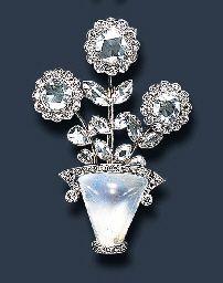 A DIAMOND AND MOONSTONE BROOCH