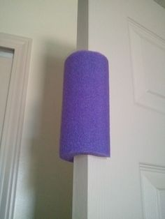 Inexpensive Toddler Proof Door Stopper - use a pool noodle! No more shutting doors or smashed fingers. Or you can just teach them not to play with doors...