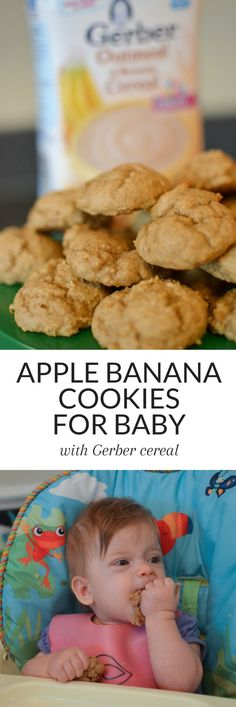 These Apple Banana Cookies, made with Gerber Cereal, are the perfect treat for your little ones! Easy to make (less than 30 minutes), full of iron and calcium, and delicious. Your baby will love these cookies! Cereal Cookies, Baby Cookies, Cookies For Babies, Summer Cookies, Valentine Cookies, Heart Cookies, Easter Cookies, Birthday Cookies, Christmas Cookies