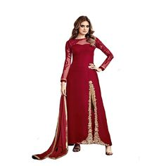 Ethnic Party wear Straight Salwar Kameez Suit Dupatta Ceremony Gown. Material: The fabric is of velvet/Silk/Net with Heavy embroidery work. Color: multicolor. Size: Suitable From 32 to Bust Size 44 inch. Occasion: Wedding Party Ceremony; Ideal For: Women. Wash Care: Dry Clean only.