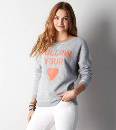 Grey Heather AEO Graphic Crew Sweatshirt