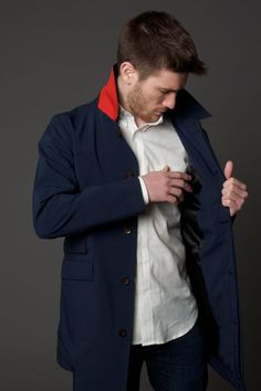 The Navy Trench with red detail was created in collaboration with Inside Hook.