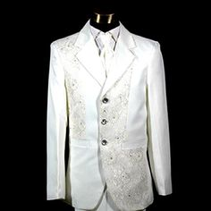 Mens 5Piece White Modern Vintage Edwardian Style Wedding Prom Tuxedo Tux SKU-123043