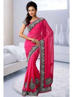 Розовое красивое индийское сари из шифона, украшенное бусинками и стразами