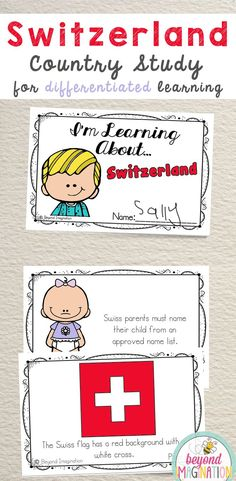 Switzerland Fun Fact country study booklet is perfect to use for an around the world unit, an international day, an international festival, a social studies unit, a cultural school project, a geography project, a cultural day, a cultural fair, a field day, or a multicultural day. #Switzerland #country #booklet #study #tpt #gradeone #gradetwo #gradethree #gradefour #kindergarten Kindergarten Special Education, Classroom Activities, Activities For Kids, Learning Activities, School Projects, Projects For Kids, Social Studies Projects, Culture Day, World Thinking Day