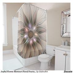 Joyful Flower Abstract Floral Fractal Art Shower Curtain