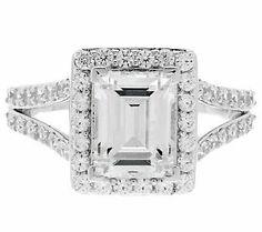 Epiphany Diamonique Emerald Cut Halo Ring