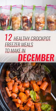 Are you looking for new recipes to try this month? I've got you covered. I came up with a list of 12 crockpot recipes that are super easy to throw together in the morning. If you're motivated, you can even prep and freeze all of them this weekend (free shopping list below!).