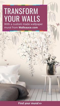 Create a beautiful feature wall in your bedroom with a gorgeous wallpaper from Wallsauce.com! From delicate floral murals and misty forest scenes to classic map wallpaper and abstract painterly designs, our collection of wallpaper will liven up your bedroom in an instant. Shop now at Wallsauce.com!