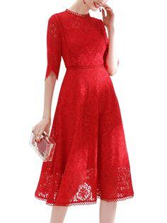 074c7d48e6 Red Asymmetrical Cuff Cutwork Lace Midi Dress