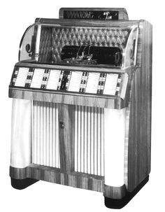 """1955, IMA\AMI Model J-120: """"Produced by Jensen Music Automates A/S. Under license of MAI Inc. [Jukebox Collector]"""
