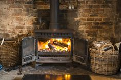 The log burning fire in Water Cottage, perfect for those cold winter nights.