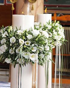 Λαμπάδες Γάμου Church Wedding Decorations, Ceremony Decorations, Wedding Centerpieces, Wedding Table, Wedding Flower Arrangements, Floral Arrangements, Wedding Flowers, Orthodox Wedding, Noel