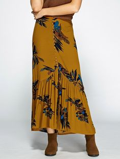 Button Up Slit Floral Print Skirt in Earthy | Sammydress.com