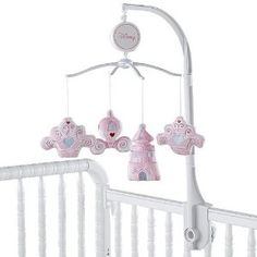 Disney Princess Musical Mobile The nursery Musical Mobile plays Brahms' Lullaby. Helps baby develop eye tracking and sound perception skills Music soothes baby Safely fits most standard cribs Great for any b. Princess Nursery Theme, Cinderella Nursery, Baby Shower Princess, Girl Nursery, Nursery Room, Best Baby Mobile, Baby Crib Mobile, Baby Cribs, Baby Bedding