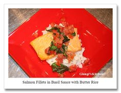 Birthday Celebration Dinner: Salmon Fillets in Basil Sauce with Butter Rice.