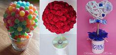Con dulces, con rosas de papel, con periódicos reciclados... Preciosos centros de mesa para fiestas y celebraciones.