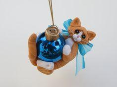 Polymer Clay Orange Tabby Cat Christmas by HeartOfClayGirl on Etsy, $16.95