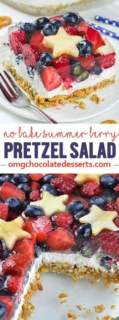 Bake Summer Berry Pretzel Salad No Bake Summer Berry Pretzel Salad is quick and easy dessert recipe for delicious summer treat. Red, white and blue dessert is definitely fun and festive idea for of July party.No Bake Summer Berry Pretzel Salad is quick Brownie Desserts, Oreo Dessert, Mini Desserts, Coconut Dessert, Blue Desserts, 4th Of July Desserts, Summer Dessert Recipes, No Bake Desserts, Easy Desserts