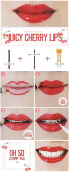 Volete un effetto cherry lips per le vostre serate estive? Ecco come realizzarle: - Fase 1: disegnate il contorno labbra con una matita labbra color rosso - Fase 2: colorate le labbra con la matita rossa fino a dare colore a tutte le labbra, escluso gli angoli - Fase 3: con una matita labbra color ciliegia colorate gli angoli delle labbra. - Fase 4: Passate sulle labbra il gloss, dagli angoli fino alla metà delle labbra - Fase 5: Sorridete!