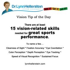 15 visual-related skills to sports.  lynnhellerstein.com #sports training #optometry #visiontherapy
